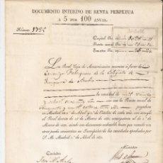 Documentos bancarios: MADRID 1831 DOCUMENTO INTERINO DE RENTA PERPETUA A 5 POR 100 ANUAL.REAL CAJA DE AMORTIZACIÓN.. Lote 183018363