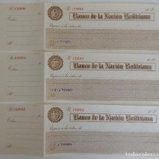 Documentos bancarios: 3 TALONES CORRELATIVOS / BANCO DE LA NACIÓN BOLIVIANA - MUY DIFÍCIL. Lote 183430372