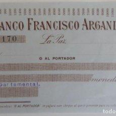 Documentos bancarios: CHEQUE / BANCO FRANCISCO ARGANDOÑA - MUY DIFÍCIL. Lote 183430525