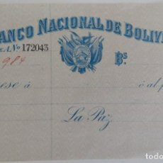Documentos bancarios: CHEQUE / BANCO NACIONAL DE BOLIVIA - MUY DIFÍCIL. Lote 183430655