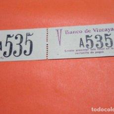 Documentos bancarios: BILLETE CAPICUA 535 BANCO DE VIZCAYA PARA HACER COLAS EN LAS VENTANILLAS DE PAGOS. Lote 183706992
