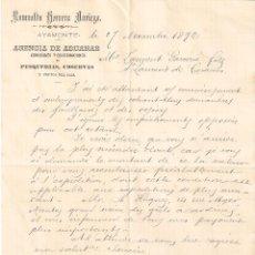 Documentos bancarios: AYAMONTE (HUELVA) ROMUALDO HERRERA NORIEGA AGENCIA DE ADUANAS. SE ADJUNTO CARTA CON SELLO PELÓN.. Lote 183712497