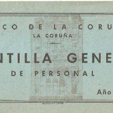 Documentos bancarios: LA CORUÑA 1966 PLANTILLA GENERAL DE PERSONAL DEL BANCO DE LA CORUÑA.. Lote 183712941