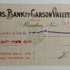Documentos bancarios: RECIBO FARMRS BANK OF GARSON VALLEY. MINDEN NEVADA ESTADOS UNIDOS. 1915. Lote 185696943