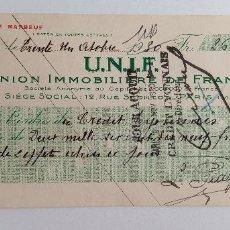 Documentos bancarios: PAREJA DE RECIBOS UNION IMMOBILIERE DE FRANCE UNIF. AÑOS 30. Lote 185697038