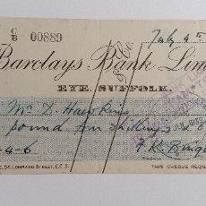 Documentos bancarios: RECIBO BARCLAYS BANK LIMITED. 1932. Lote 185697287