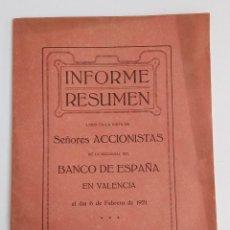 Documentos bancarios: INFORME RESUMEN BANCO DE ESPAÑA EN VALENCIA. 1921. W. Lote 187436285