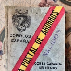 Documentos bancarios: LIBRETA. CAJA POSTAL DE AHORROS. 1944. FRANQUISMO. NACIDOS. CORREOS ESPAÑA. POSGUERRA. BANDERA. Lote 189294295