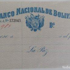 Documentos bancarios: CHEQUE / BANCO NACIONAL DE BOLIVIA - MUY DIFÍCIL. Lote 190234206