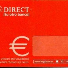 Documentos bancarios: TALONARIO DE 11 CHEQUES SIN UTILIZAR DE ING DIRECT. Lote 189184520