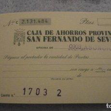 Documentos bancarios: ANTIGUA LIBRETA DE CHEQUES.CAJA AHORROS PROVINCIAL.SAN FERNANDO DE SEVILLA 1978. Lote 190693842