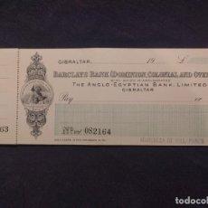 Documentos bancarios: CHEQUERA. BARCLAY'S BANK. THE ANGLO-EGYPTIAN BANK, LIMITED. GIBRALTAR. MARQUESA VILLAPANÉS. 1931.. Lote 190708375