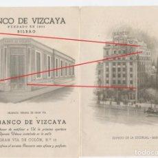 Documentos bancarios: TRÍPTICO BANCO DE VIZCAYA, SE DESCONOCE AÑO. Lote 136535022