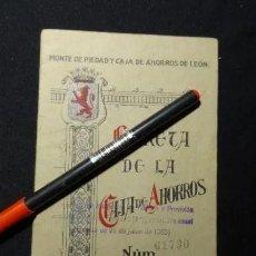 Documentos bancarios: LIBRETA DE LA CAJA DE AHORROS DE LEON, AÑO 1935, ASTORGA.BANCO. Lote 192855376