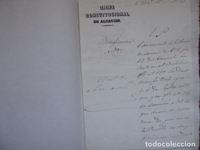 DOCUMENTO DE BENEFICENCIA DE ALCALDIA CONSTITUCIONAL DE ALCAUCIN, MALAGA, (Coleccionismo - Documentos - Documentos Bancarios)