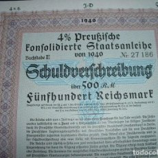 Documentos bancarios: GREMAN 500 R.MARKS 3RD REICH GOVERNMENT BOND WITH EAGLE SWASTIKA,& SS WATERMARK. Lote 193807308