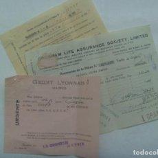 Documenti bancari: LOTE DE 3 DOCUMENTOS DEL CREDYT LYONNAIS . PAGO SEGURO DE VIDA . ORGIVA ( GRANADA ), 1933. Lote 193871562