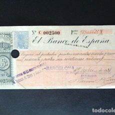 Documentos bancarios: LETRA DE CAMBIO BANCO DE ESPAÑA. BARCELONA. AÑO 1921. . Lote 52924579