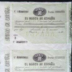 Documentos bancarios: DOS TALONES CON MATRIZ EN BLANCO. BANCO DE ESPAÑA. AÑO 1870.. Lote 52925103