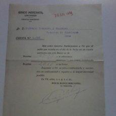 Documentos bancarios: BANCO MERCANTIL. SANTANDER. 1944. SALDO E INTERESES A SU FAVOR EN LA CUENTA CORRIENTE. Lote 194085716