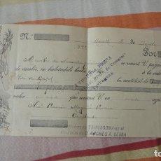 Documentos bancarios: ANTIGUO PAGARES.FRANCISCA QUERALT.MORELL-RAMON MAGRIÑA ROVIRA.CONSTANTI.TARRAGONA 1912. Lote 194231011