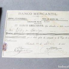 Documentos bancarios: PAGARÉ DEL BANCO MERCANTÍL. 1901 ABONARÉ NÚM 1759. Lote 194234101