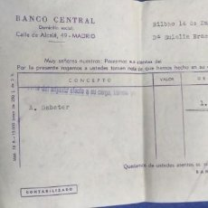 Documentos bancarios: BANCO CENTRAL CALLE DE ALCALA MADRID 1961. Lote 194492780