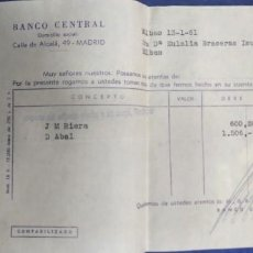 Documentos bancarios: BANCO CENTRAL CALLE ALCALA MADRID 1961. Lote 194523463