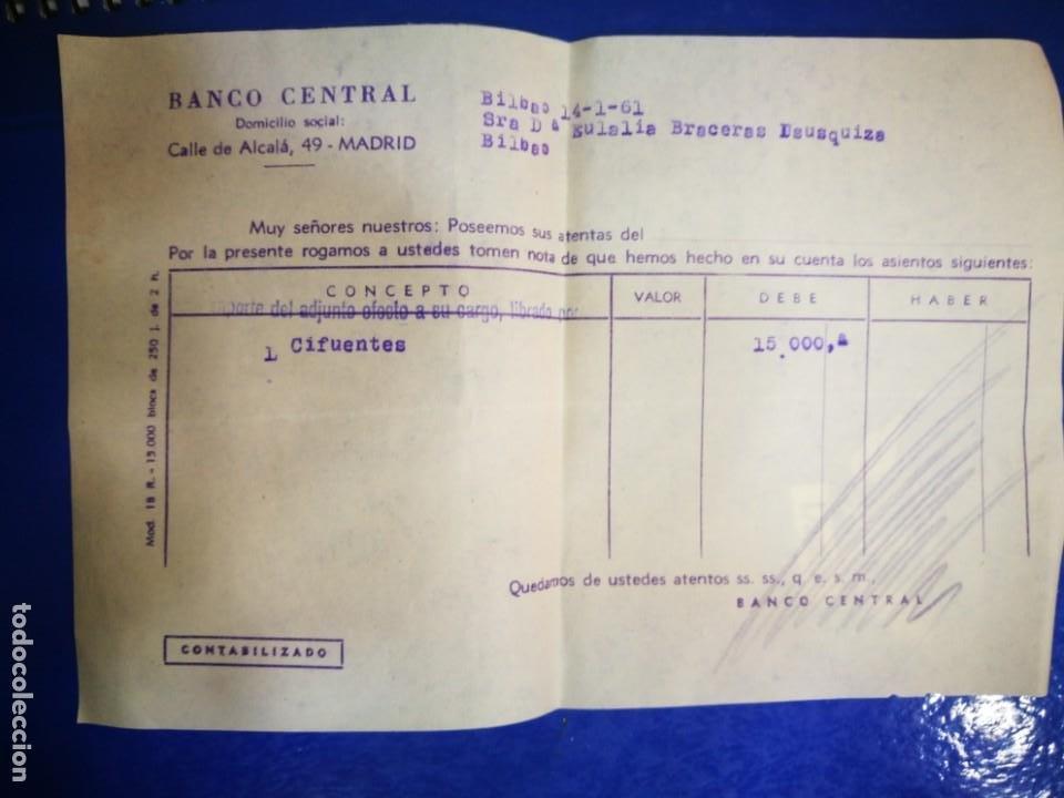 BANCO CENTRAL 1961 CALLE ALCALÁ MADRID DOCUMENTO BANCARIO (Coleccionismo - Documentos - Documentos Bancarios)