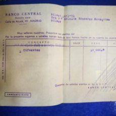 Documentos bancarios: BANCO CENTRAL 1961 CALLE ALCALÁ MADRID DOCUMENTO BANCARIO. Lote 194608553