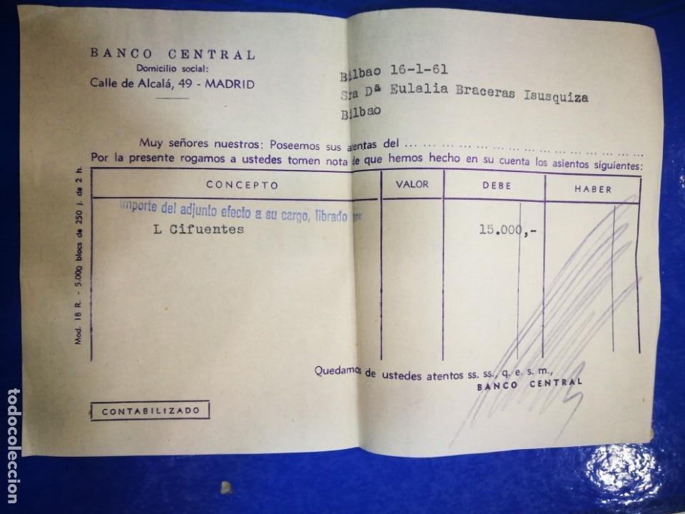 BANCO CENTRAL CALLE ALCALÁ 1961 DOCUMENTO BANCARIO (Coleccionismo - Documentos - Documentos Bancarios)