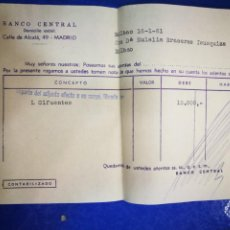 Documentos bancarios: BANCO CENTRAL CALLE ALCALÁ 1961 DOCUMENTO BANCARIO. Lote 194624545