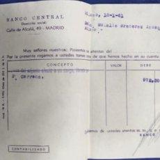 Documentos bancarios: BANCO CENTRAL MADRID CALLE ALCALA 1961 DOCUMENTO BANCARIO. Lote 194687705