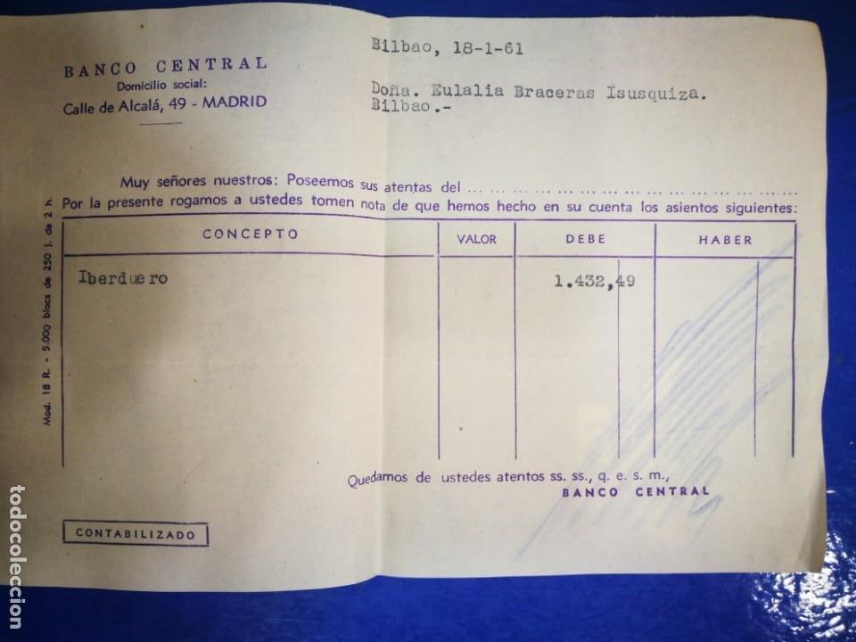 BANCO CENTRAL CALLE ALCALÁ 1961 IBERDUERO RECIBO (Coleccionismo - Documentos - Documentos Bancarios)