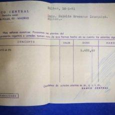 Documentos bancarios: BANCO CENTRAL CALLE ALCALÁ 1961 IBERDUERO RECIBO. Lote 194704567