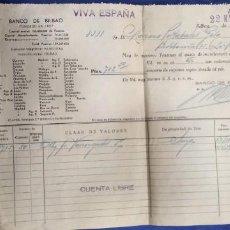 Documentos bancarios: BANCO DE BILBAO 1939 DOCUMENTO BANCARIO. Lote 194723982