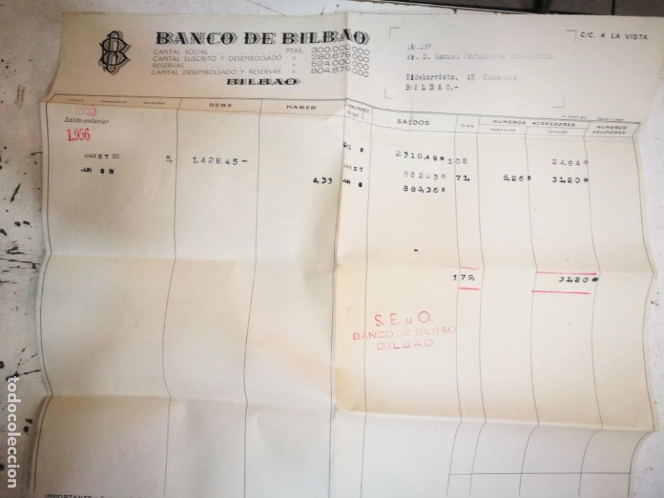Documentos bancarios: Banco de Bilbao 1956 Documento Bancario - Foto 1 - 194729040