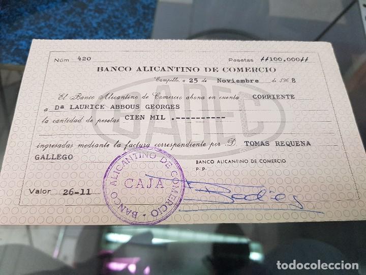 CHEQUE BANCO ALICANTINO DE COMERCIO ALICANTE 1968 (Coleccionismo - Documentos - Documentos Bancarios)