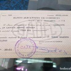 Documentos bancarios: CHEQUE BANCO ALICANTINO DE COMERCIO ALICANTE 1968. Lote 194774781