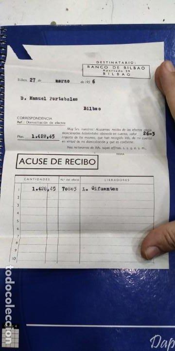 BANCO DE BILBAO ACUSE DE RECIBO 1956 (Coleccionismo - Documentos - Documentos Bancarios)