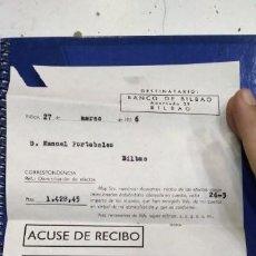 Documentos bancarios: BANCO DE BILBAO ACUSE DE RECIBO 1956. Lote 194874535