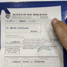 Documentos bancarios: BANCO DE BILBAO 1956 DOMICILIACION DE EFECTOS. Lote 194883121
