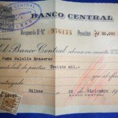 Documentos bancarios: BANCO CENTRAL 1960 ABONO EN CUENTA 1960 TIMBRADO. Lote 194892285