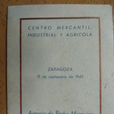 Documentos bancarios: CENTRO MERCANTIL INDUSTRIAL Y AGRICOLA DE ZARAGOZA. AÑO 1945, . Lote 194898010