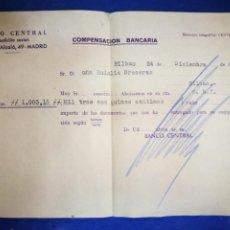 Documentos bancarios: BANCO CENTRAL CALLE DE ALCALÁ 1960 COMPENSACIÓN BANCARIA. Lote 194929167