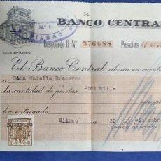 Documentos bancarios: BANCO CENTRAL MADRID 1960 ALCALA 49 ABONO EN CUENTA CON TIMBRE. Lote 194936350