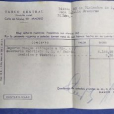Documentos bancarios: BANCO CENTRAL CALLE ALCALA 1960 IMPORTE CHEQUE ENTREGADO. Lote 194959302