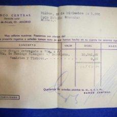 Documentos bancarios: BANCO CENTRAL CALLE ALCALÁ 1960 CHEQUE ENTREGADO. Lote 195029480
