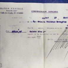 Documentos bancarios: BANCO CENTRAL 1960 CALLE ALCALA MADRID COMPENSACION BANCARIA. Lote 195037635