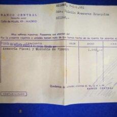 Documentos bancarios: BANCO CENTRAL CALLE ALCALÁ 1961 ASESORÍA FISCAL Y CONTABLE DE VIZCAYA DOCUMENTO BANCARIO. Lote 195109440